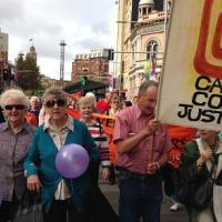 Pat, Margaret Anne and others, Palm Sunday Rally 2015 Pat and Margaret Anne web
